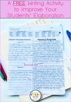 Do your middle school English students struggle with elaboration in their writing? Check of this FREE writing activity to help improve their elaboration in their writing. #freeactivity #middleschoolteachers #englishteachers