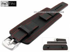 Watch strap 24mm black leather military look robust with leather pad red stitching by PATTINI (width of buckle 24 mm) - Bild vergrößern