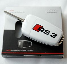 AUDI RS3 S3 A3 8P 8PA 8V Holder Key Fob Cover Case White Gloss Painted