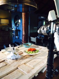 Yes, that's right, we're shooting recipes on an old wooden door!