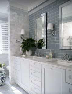 Gray subway tile with marble floor tile