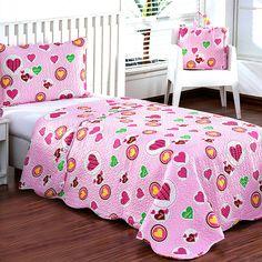 Colcha Infantil Estampada Coração Love + Porta Travesseiro