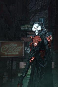 Spooky alleyway cyborg.