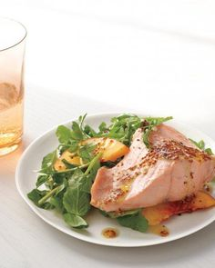 Poached Salmon with Watercress and Peaches Recipe