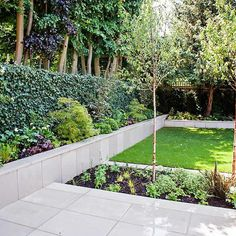 Large garden using Portland stone and steel planters in Hampstead by designer Lynne Marcus Large Garden Planters, Backyard Planters, Stone Planters, Garden Landscaping, Landscaping Ideas, Landscape Design, Garden Design, Top Photos, Shade Tolerant Plants