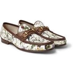bd5910dabb4e0 Gucci Floral-Print Canvas and Leather Loafers Mens Designer Loafers, Gucci  Shoes, Gucci
