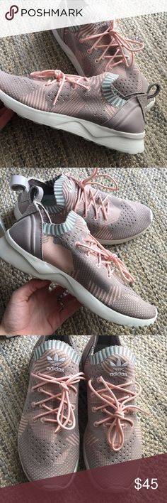 Adidas Prime Knit Pastel ZX Flux size 7.5 Worn twice. SO comfortable. Completely Knit upper. Size 7.5 (will fit you if you're an 8 as adidas runs larger). Light pink, sand color with baby blue along the ankle. adidas Shoes Sneakers