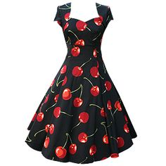 Beautiful Beautiful Beautiful!!Adorable! I think my Favorite part would have to be the neck line :) Someday I will own a dress of this cut! Perhaps not the cherry print though... Navy blue with a white belt at the waist perhaps? Who knows. All I know is, it's going to happen :)