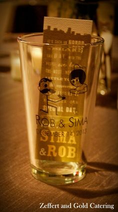 Pint glasses with Natty boh and Utz girl. Wedding favors for Baltimore wedding.