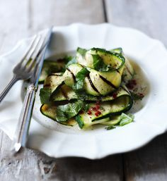Use up a glut of courgettes in this pretty salad with basil, mint, chilli and lemon.
