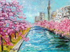 Original oil painting Japan Cherry Blossoms Spring palette knife 12x16 impressionism on canvas fine art by Karen Tarlton