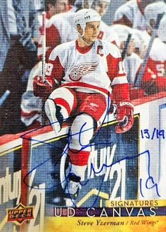 Canvas Signatures Steve Yzerman Hockey Cards, Baseball Cards, Steve Yzerman, Young Guns, Detroit Red Wings, Upper Deck, Canvas, Sports, Tela