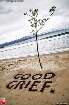 """FACEBOOK 16 Aug Christy Strever (photo). 'Good Grief' by Wilma Cruise, """"Good Grief is a statement about journeys, foreignness and inappropriate settlement. The second high tide washed the words away and threatened to drag the tree into the sea."""" Site_Specific #LandArtBiennale. #LandArt"""