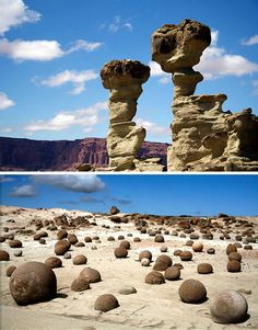 Valley of the moon in Argentina is studded with geological formations left by wind erosion, amazing standing stones and boulders that are so rounded they look like enormous marbles.