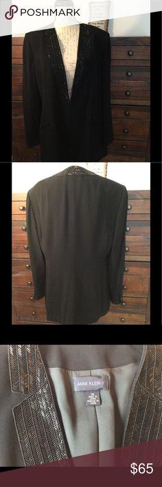 Anne Klein ll Jacket Anne Klein ll Jacket with beaded lapel.  Very elegant!  Like new. Anne Klein Jackets & Coats Blazers