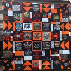 Harley Davidson t-shirt quilt.  Made from 20 t-shirts and custom designed by us.