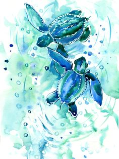 Ocean Art, Ocean Life, Sea Turtles, Sea Turtle Art, Baby Turtles, Framed Art Prints, Watercolor Paintings, Watercolour, Illustrations