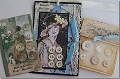 Button Floozies: Introducing myself . and link to Vintage Button Cards Victorian Cross Stitch, Button Cards, Button Button, Featherweight Sewing Machine, Chocolate Buttons, Rosie The Riveter, Sewing Toys, Sewing A Button, Sewing Notions