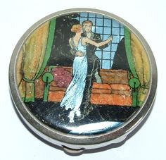 Vintage Art Deco Foil Butterfly Wing Stratnoid Early Stratton Powder Compact