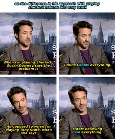Robert Downey Jr.'s wife Susan's opinion on his roles as Sherlock Holmes and Tony Stark.