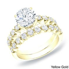 Auriya 14k Gold 2ct TDW Certified Diamond Bridal Ring Set (H-I, SI1-SI2) | Overstock.com Shopping - Top Rated Auriya Bridal Sets