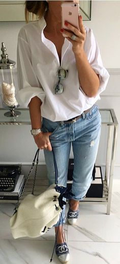 #spring #outfits #KISS  White Shirt + Ripped Bleached Jeans
