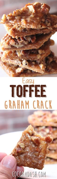 These Toffee Graham Crack Bars are SO ADDICTING! They are a praline on crack. They are made with brown sugar butter pecans and graham crackers and are to DIE for! Make these TOFFEE GRAHAM CRACK BARS asap! Candy Recipes, Sweet Recipes, Holiday Recipes, Cookie Recipes, Holiday Treats, Crack Cookies Recipe, Toffee Cookies, Holiday Appetizers, Party Appetizers