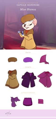 Disney Character Capsule Wardrobe: Miss Bianca | The Rescuers | [ https://style.disney.com/fashion/2016/06/26/disney-character-capsule-wardrobe-miss-bianca/ ]