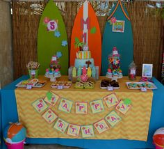 Teen Beach Movie birthday party dessert table and backdrop! See more party planning ideas at CatchMyParty.com!