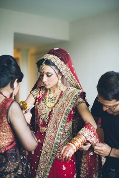 Traditional indian bride wearing bridal saree and jewellery