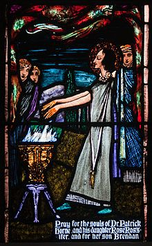 Rose of Lima (Aug. First person born in the New World to be canonized; patron of indigenous peoples & Latin America. Stained Glass Angel, Stained Glass Windows, Catholic Saints, Patron Saints, Harry Clarke, Michael Church, Saint Dominic, Arts And Crafts Movement, Windows