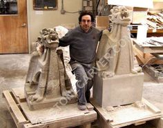 About the Gargoyles and Grotesques, Griffins and Gnomes gallery of Walter S. Arnold Studio, Chicago. All original stone sculpture is made in USA.
