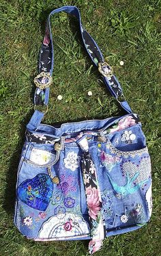 Up-cycled jeans bag with silk tie closure. Cute for using with leftover jeans and different colored fabric!!!
