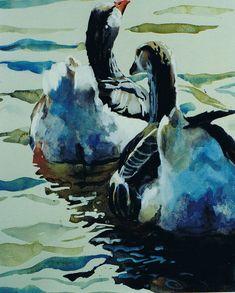 Brian Baxter: Swimming Geese Swimming, Birds, Painting, Art, Swim, Art Background, Bird, Painting Art, Paintings
