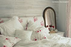 ~ <3 the Urban Farmgirl guest room using Cabbages and Roses fabrics