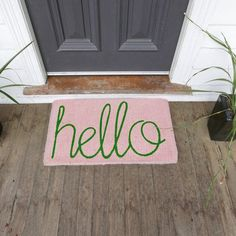 Down To The Woods | Hello Door Mat Soft Pink | Collected by LeeAnn Yare