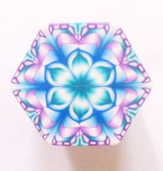 EXTRA LARGE Peacock. Blue Purple and White Hexagon by ClaybyKerm, $12.00