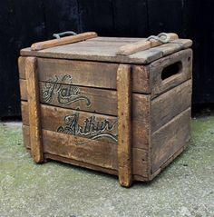 Rustic reclaimed wooden chest, made from bits of pallet wood.