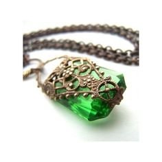 Texas / Steampunk-esq with a beautiful emerald ❤ liked on Polyvore featuring necklaces