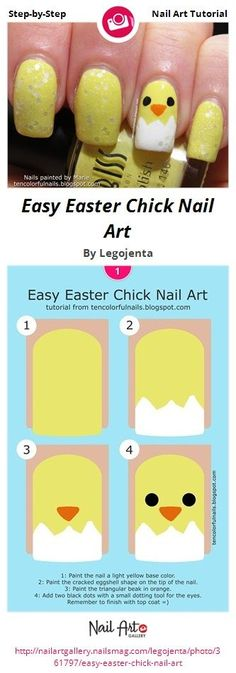 Easy Easter Chick Nail Art by Legojenta - Nail Art Gallery Step-by-Step Tutorial. - Easy Nail Art - Ideas For Women's Easter Nail Designs, Easter Nail Art, Simple Nail Art Designs, Cute Nail Designs, Easy Nail Polish Designs, Cute Spring Nails, Spring Nail Art, Spring Art, Gel Nagel Design
