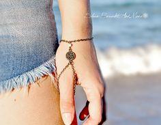 Slave Bracelet Thumb Bracelet Hand Piece Chain Bronze Charm Ivory Bead Boheme Boho Chic Bohemian Hipster Hippie Vintage hand jewelry