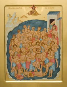Forty Martyrs of Sebaste, catalog of St Elisabeth Convent. Byzantine Icons, Byzantine Art, Painted Cups, Hand Painted, Paint Icon, Metal Workshop, Orthodox Icons, Tempera, Fresco