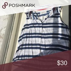 Striped blouse Sleeveless button down with red accents Abercrombie & Fitch Tops Blouses
