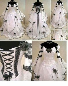 Beautiful contrasting wedding dress with corset lacing.
