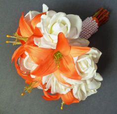 wedding bouquet - white roses and orange lilies