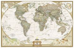 World, Executive, Enlarged and Tubed by National Geographic Maps