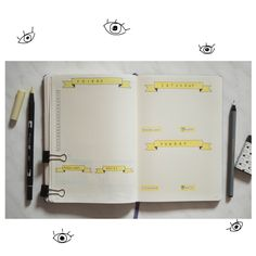 Some Bullet Journal inspiration and layout ideas. This time: Weekly Spread in Yellow. #bulletjournal #ideas #layout #inspiration