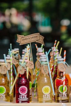 Camping birthday party drinks!  See more party planning ideas at CatchMyParty.com!