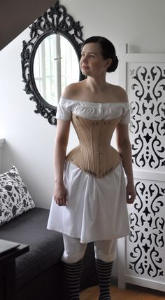 Maybe try this corset style for Cinders? Before the Automobile: gusseted corset 1800s Fashion, 19th Century Fashion, Victorian Fashion, Vintage Fashion, Vintage Corset, Vintage Underwear, Victorian Corset, Retro Mode, Vintage Mode