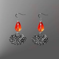 Chainmail fan style Earrings | JewelryLessons.com